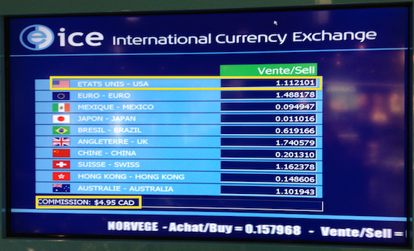 Airport Kiosk Exchange Rate Board