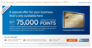 75,000-Point Bonus On The Business Gold Rewards Card from American Express OPEN!