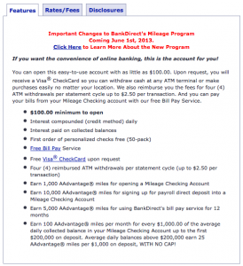 BankDirect Mileage Checking: 100 AAdvantage Miles Per Month For Every $1,000 On Deposit