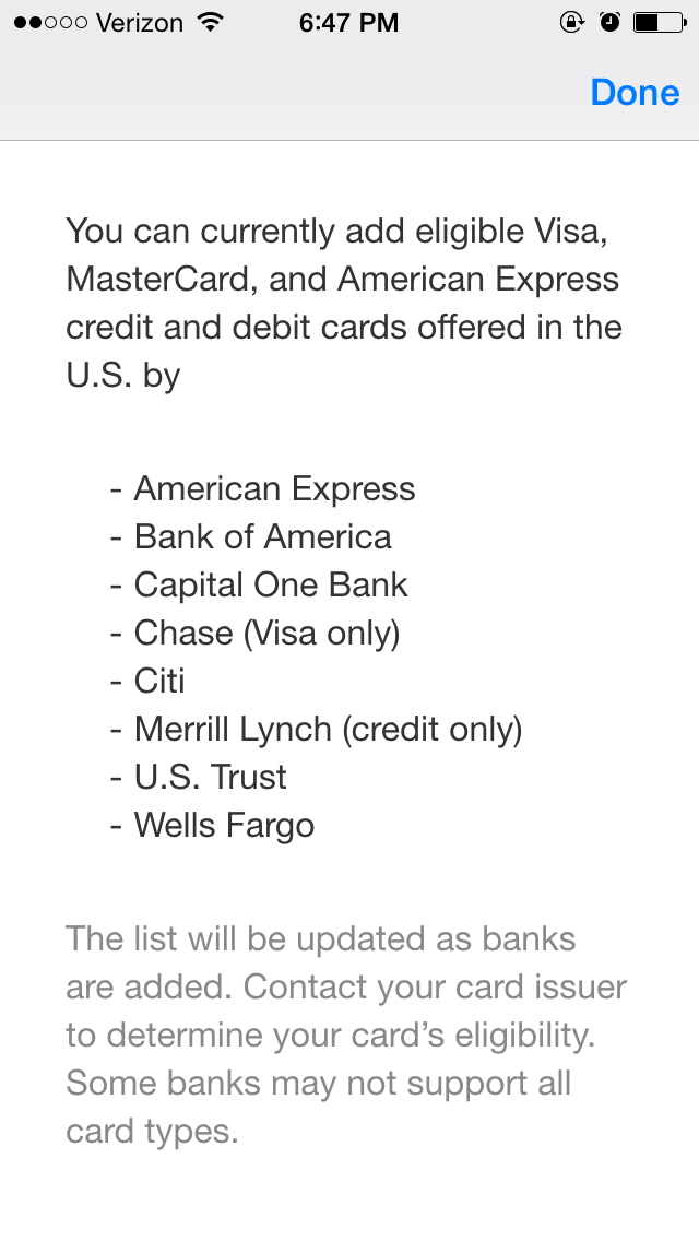 Points on the dollar applepay some initial thoughts and observations a list of supported issuers appears when you click learn colourmoves